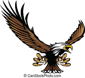 águia, mascote, voando, talons