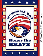 águia, memorial, cartaz, saudação, americano, dia, cartão