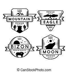 águia, montanha, voando, logotipo, jogo, lua, bizon