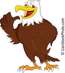 águia, polegar cima, caricatura