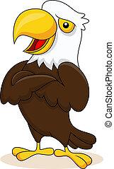 águia, posar, caricatura