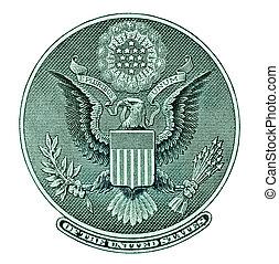 águia, selo, de, conta dólar
