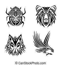 águia, tatuagem, urso, desenho, Lobo, erro