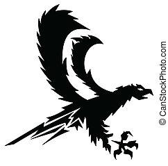 águia, vetorial, forte