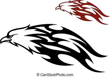 águia voadora, arrastar, chamas