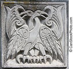 águias, baixo-relevo, antigas, fairytale, dois