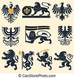águias, heraldic, leões