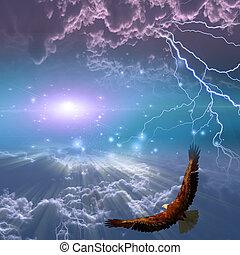 águila, abajo, vuelo, tormenta