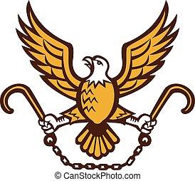 águila, agarrando, j, gancho, norteamericano, remolcar, retro