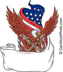 águila, agarrando, j, norteamericano, gancho, bandera, remolcar, unfurled, dibujo