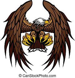 águila, alas, y, garras, mascota, vector