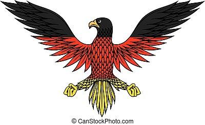 águila alemana, pájaro, en, bandera, colores