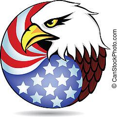 águila, bandera, américa, tenido