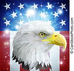 águila, bandera, concepto, américa