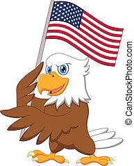 águila, bandera estadounidense, tenencia, caricatura