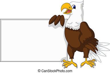 águila, blanco, caricatura, señal