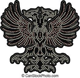 águila, bordado con cuentas, ilustraciones
