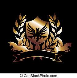 águila, caballo, arte, protector, oro, vector