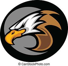 águila, cabeza, gráfico, vector, il, mascota