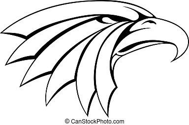águila, cabeza, ilustración