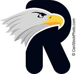 águila, cabeza, logotype