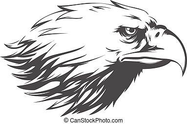 águila, cabeza, silueta, -, vector, vista lateral