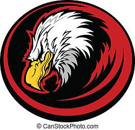 águila, cabeza, vector, mascota
