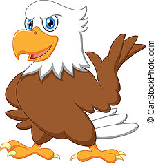 águila, caricatura, lindo, ondulación