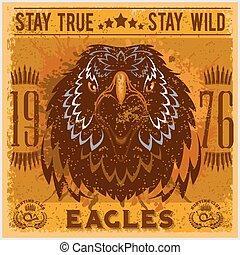 águila, caza de cabeza, club, -, camiseta, impresión, plano ...