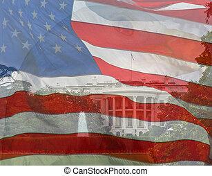 águila, compuesto, author., bandera, house., tres, fotos, tomado, blanco