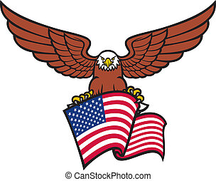 águila, con, bandera de los e.e.u.u