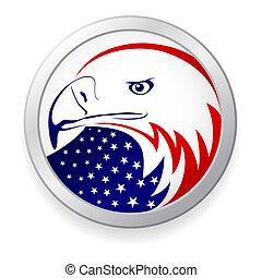 águila, con, bandera estadounidense