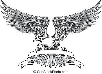 águila, con, emblema