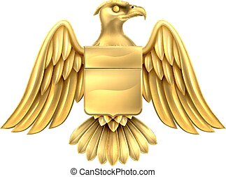 águila, diseño, oro