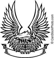 águila, emblema, con, bandera
