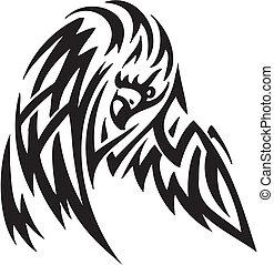 águila, en, tribal, estilo, -, vector, ilustración