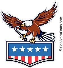 águila, estados unidos de américa, j, norteamericano, gancho, bandera, remolcar, retro