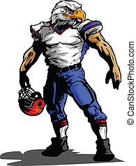 águila, fútbol, ilustración, uniforme, jugador, vector