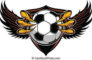 águila, garras, garras, ilustración, vector, futbol