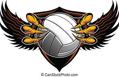 águila, garras, garras, ilustración, vector, voleibol