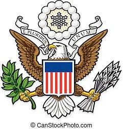 águila, grande, calvo, nosotros, sello