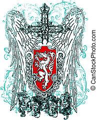 águila, heráldico, cresta, cruz