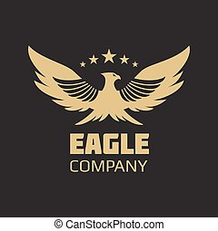 águila, heráldico, diseño, oro, logotipo