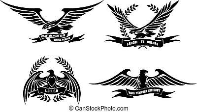 águila, heráldico, etiquetas, coronas, laurel, cintas, protectores
