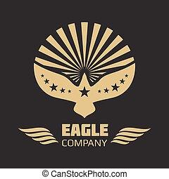 águila, heráldico, vector, fondo negro, logotipo