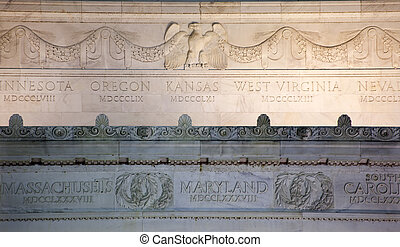 águila, lincoln, washington, arriba, cc, monumento conmemorativo, detalles, cierre, mármol