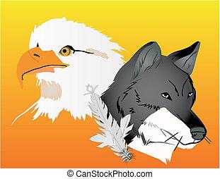 águila, lobo, espíritus, ilustración