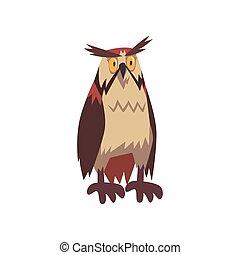águila, marrón, carácter, ilustración, plumaje, vector, búho, pájaro