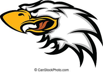 águila, mascota, cabeza, gráfico