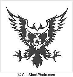 águila, negro, cráneo